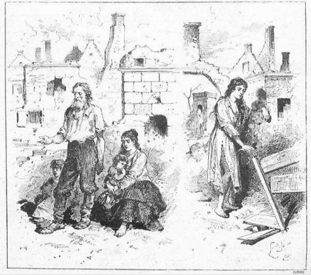 Гродно после пожара. Рисунок Чеслава Янковского, 1885