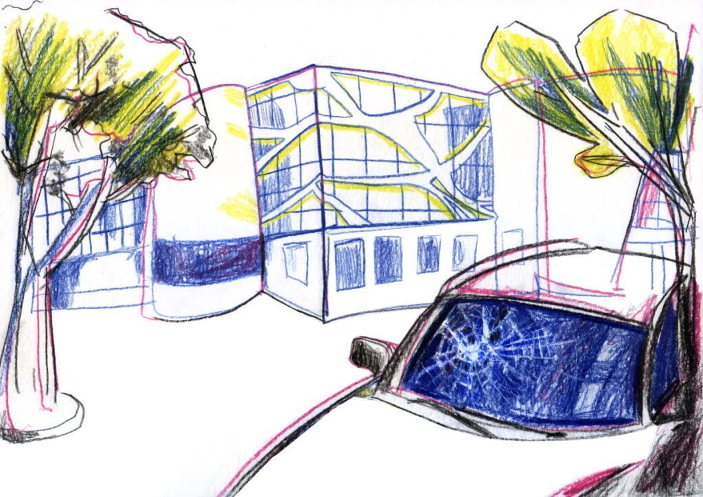 Алексей видел, как командир части дубинкой разбил лобовое стекло в машине. Иллюстрация: Вероника Гончар