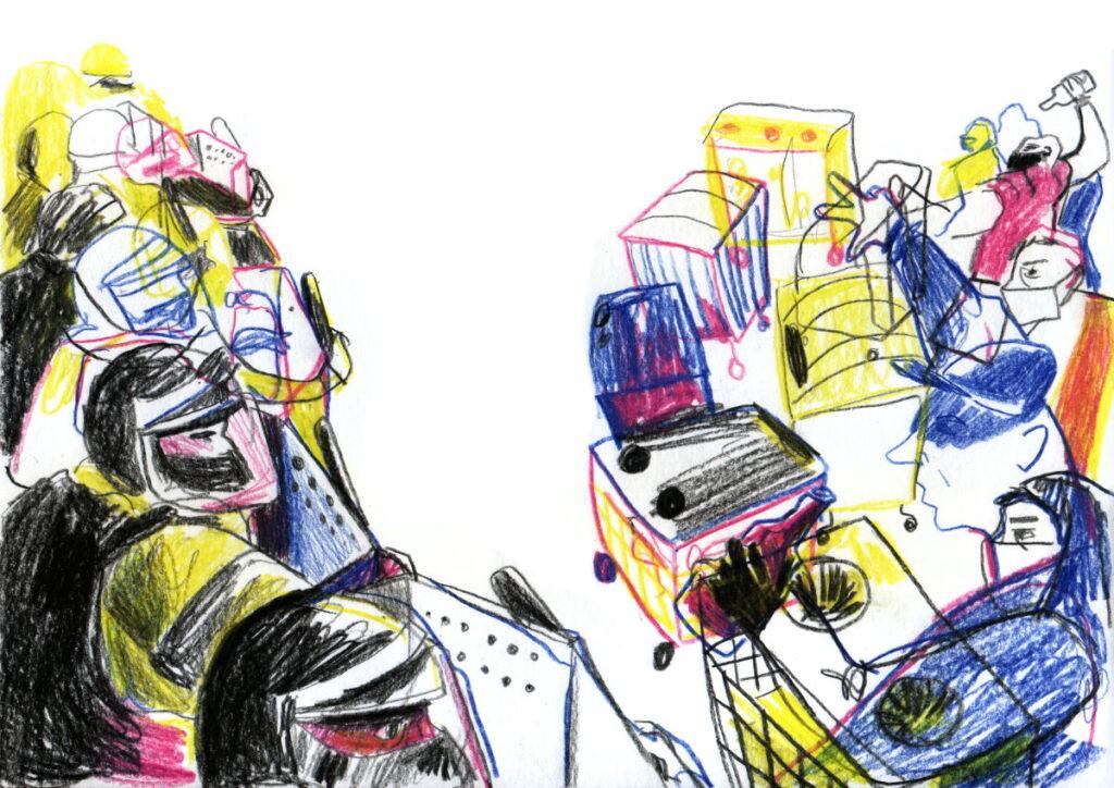 """""""Мы стояли и в нас летели коктейли Молотова, камни, взрывпакеты, кирпичи"""", - вспоминает Владислав. Иллюстрация: Вероника Гончар"""
