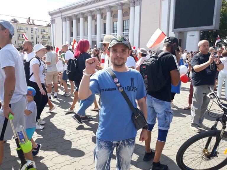 Андрей Баканаускас в августе во время мирных протестов в августе 2020 г.. Фото: из архива героя / уволенные из-за стачки