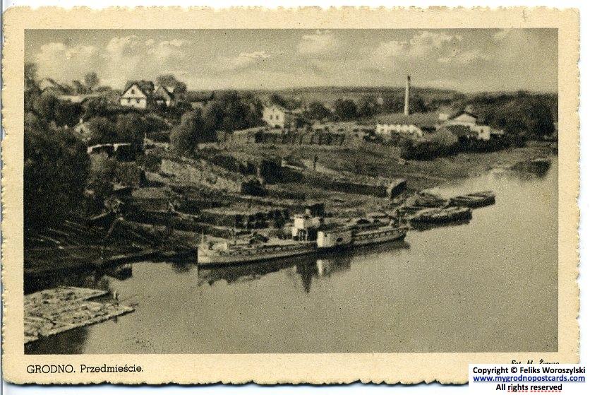 "Пароход ""Jagiełło"" на Немане. На заднем плане - лесопилка на левом берегу. Фото 1930-х."