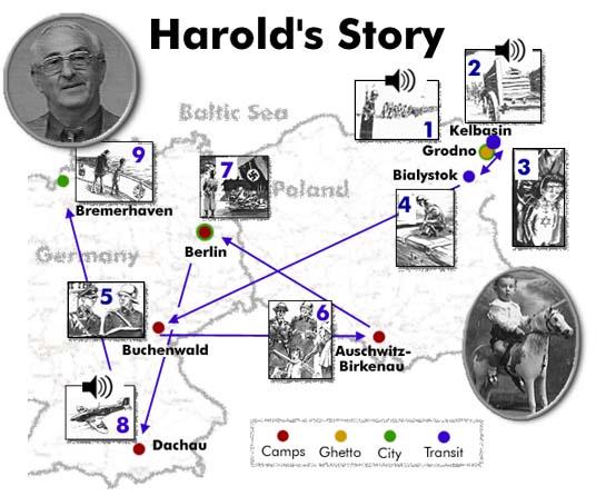 """Путь Харольда во время Второй мировой войны. Схема из книги Харольда Гордона """"The Last Sunrise"""""""