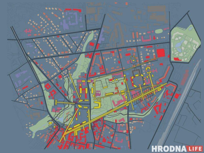 Совмещение проекта Анны Орлюк с исторической планировкой района Городница